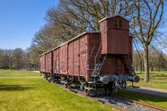 Former Nazi deportation train unit. WESTERBORK, NETHERLANDS, APRIL 9 2017. Former nazi deportation train unit in camp Westerbork, now a memorial site and museum stock image