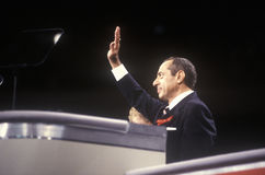 Former New York Governor Mario Cuomo addresses crowd at the 1992 Democratic National Convention at Madison Square Garden, New York Royalty Free Stock Image