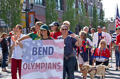 Former Olympians In Homecoming Parade for Olympian. Former Olympic and Special Olympic winners in homecoming parade for Bend, Oregon native gold medal winner Stock Photography