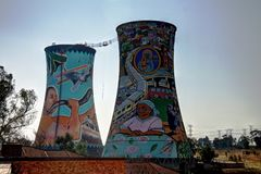 Former powerplant, cooling tower, now is tower for BASE jumping stock image