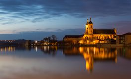 Former Premonstratensian Abbey in Pont a Mousson France at night.  stock photo