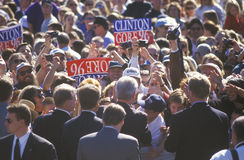 Former President Bill Clinton meets the crowd at a Santa Barbara City College campaign rally in 1996, Santa Barbara, California Stock Image