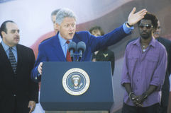 Former President Bill Clinton speaks at a Presidential rally for Gore/Lieberman on November 2nd of 2000 in Baldwin Hills, Californ Stock Photo