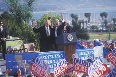 Former President Bill Clinton welcomes crowd at a Santa Barbara City College campaign rally in 1996, Santa Barbara, California Stock Images
