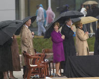 Former President George HW Bush, President George W. Bush, Laura Bush and others on stage during the grand opening ceremony of the Stock Photos