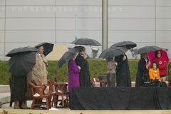 Former President George HW Bush, President George W. Bush, Laura Bush and others on stage during the grand opening ceremony of the Royalty Free Stock Images