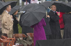 Former President George HW Bush, President George W. Bush and others on stage during the grand opening ceremony of the William J.  Stock Image