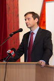 Former prime minister of Hungary, Mr. Gordon Bajnai. Gives a speech on Februar 8, 2013, Veresegyhaz, Hungary Stock Photos