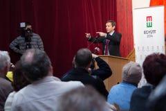Former prime minister of Hungary, Mr. Gordon Bajnai. Gives a speech on Februar 8, 2013, Veresegyhaz, Hungary Royalty Free Stock Images