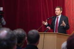 Former prime minister of Hungary, Mr. Gordon Bajnai. Gives a speech on Februar 8, 2013, Veresegyhaz, Hungary stock photography