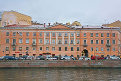 Former profitable house of Starov in style classicism on Fontanka River in Saint Petersburg, Russia. Old mansion on Fontanka River embankment in the centre of Stock Images