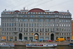 Former the profitable house in style of neoclassicism on Moika River in Saint Petersburg, Russia Stock Photos