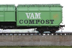 Former railway carriage of waste disposal company VAM in Wijster Royalty Free Stock Images