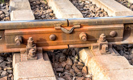 Former railway station , open landscape . Fastenings iron metal. Rails on the basis of modern concrete sleepers stock photography