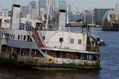 Former River Mersey Liverpool ferry MV Royal Iris, lying derelict and moored in the River Thames London at Woolwich. Woolwich, London, United Kingdom - June 23 royalty free stock photo