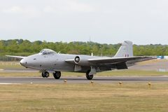 Former Royal Air Force English Electric Canberra PR.9 photographic reconnaissance aircraft G-OMHD operated by Midair Squadron. Farnborough, UK - July 21, 2014 royalty free stock photos