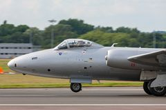 Former Royal Air Force English Electric Canberra PR.9 photographic reconnaissance aircraft G-OMHD operated by Midair Squadron. Farnborough, UK - July 21, 2014 stock image