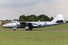 Former Royal Air Force English Electric Canberra PR.9 photographic reconnaissance aircraft G-OMHD operated by Midair Squadron. RAF Waddington, Lincolnshire, UK royalty free stock images