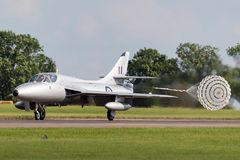 Former Royal Air Force RAF Hawker Hunter T.7 XL577 G-XMHD jet trainer aircraft operated by the Midair Squadron. RAF Waddington, Lincolnshire, UK - July 7, 2014 royalty free stock images