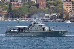Former Royal Australian Navy Attack-class patrol boat HMAS Advance P 83 now operated by the Australian National Maritime Museum stock image
