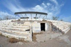 Abandoned stadium.Sary Shagan. Royalty Free Stock Photo