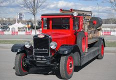 Former Soviet restore fire truck AMO-4 (ZIL). Red, front view Stock Images