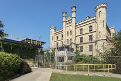 Gothic style old penitentiary in Joliet. Former state penitentiary on route 66 in Joliet, Illinois Royalty Free Stock Image