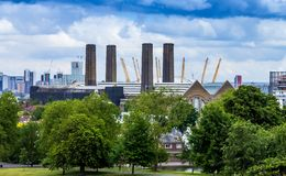 Former sweeteners refinery and modern sport arena on the Greenwich Peninsula. London, UK stock photography