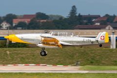 Former Swiss Air Force F+W C-3605 Schlepp target towing aircraft HB-RDB used to train pilots in aerial gunnery. Payerne, Switzerland - September 4, 2014: Former stock image