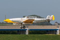 Former Swiss Air Force F+W C-3605 Schlepp target towing aircraft HB-RDB used to train pilots in aerial gunnery. Payerne, Switzerland - September 4, 2014: Former royalty free stock photo