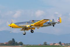 Former Swiss Air Force F+W C-3605 Schlepp target towing aircraft HB-RDB used to train pilots in aerial gunnery. Payerne, Switzerland - September 4, 2014: Former stock photos
