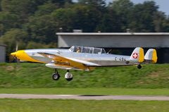 Former Swiss Air Force F+W C-3605 Schlepp target towing aircraft HB-RDB used to train pilots in aerial gunnery. Payerne, Switzerland - September 4, 2014: Former stock images