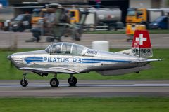 Former Swiss Air Force Pilatus P-3 military trainer aircraft HB-RBP royalty free stock images