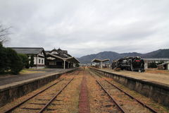 Former Taisha station and steam locomotive Royalty Free Stock Photos