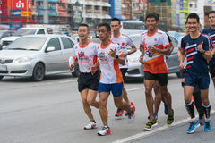 Former Thai national athlete run 750 km, from Bangkok to Phayao Stock Photography