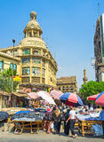 The former Tiring Department Store. CAIRO, EGYPT - OCTOBER 10, 2014: The former Tiring Department Store surrounded by the noisy Ataba market, on October 10 in Royalty Free Stock Photo