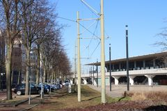 Former tram station at Voorburg train station in the Netherlands. With blue sky and no clouds stock image