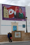 Former Tunisian President Ben Ali in Kairouan. A big poster of former Tunisian President Ben Ali in the city of Kairouan during one of his visits in 2009 Royalty Free Stock Photo