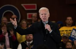 Former Vice President Joe Biden campaigns in Hampton, New Hampshire, USA, on Feb. 9, 2020, during the presidential primary.