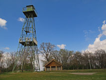Former Watch tower, Austria. Former watch tower close to the Austrian-Hungarian border where the Iron Curtain at the border was. Today the area is world heritage stock image
