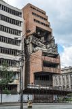 Former Yugoslav Ministry of Defence building destroyed by NATO bombing in Belgrade Serbia. Belgrade is the capital and largest city of Serbia. It is located at royalty free stock photos