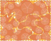 Formes aérodynamiques douces de fond orange abstrait avec les formes rondes blanches illustration de vecteur