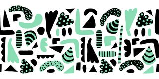 Formes abstraites modernes de griffonnage de frontière sans couture horizontale de vecteur Éléments simples de modèle verts et fo illustration stock