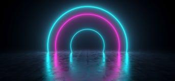 Formes au néon rougeoyantes futuristes de Sci fi bleues et pourpre coloré dedans illustration libre de droits