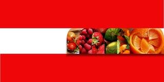 Formes carrées alignées par intérieur de fruits frais Photographie stock