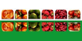 Formes carrées reflétées complètement des fruits frais Images libres de droits