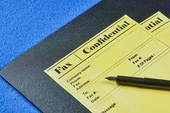 Formes confidentielles de fax photos stock