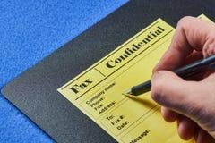 Formes confidentielles de fax images stock
