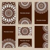 Formes d'affaires commerciales réglées de vecteur avec des mandalas Calibres de cartes Photo stock