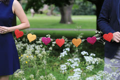 Formes d'amour sur une ficelle Image stock